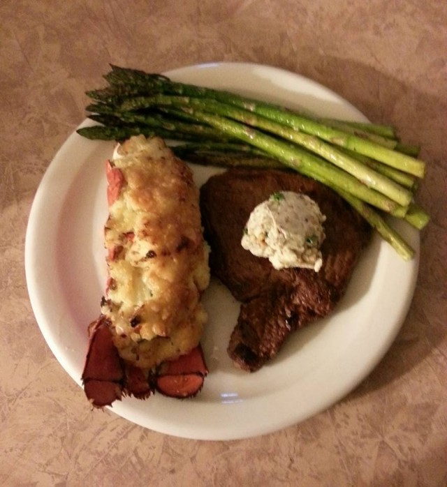 Lobster Thermidor and Grilled Sirloin